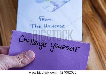 concept for a self esteem building exercise using an envelope and a empowering message