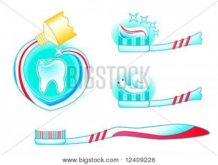 teeth, tooth paste and tooth brush in three colored vector