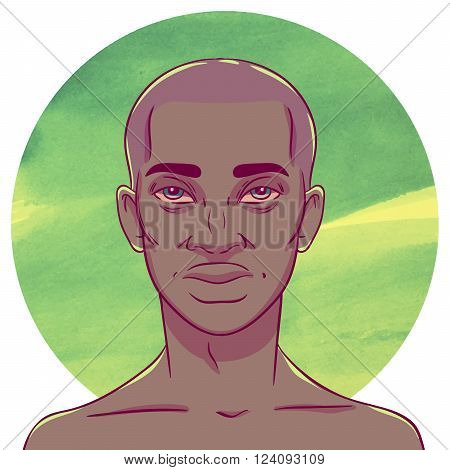 African American man with bald head on a background of watercolor circles. The illustration in comics style.