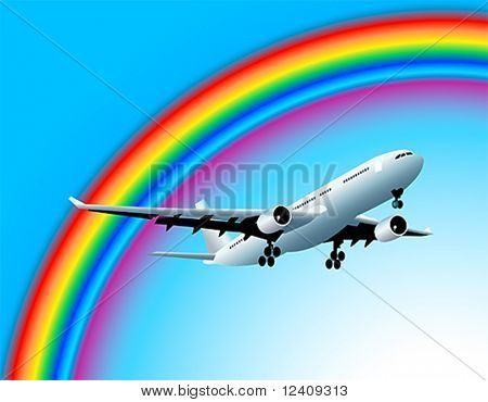 Modern airbus flying to the rainbow at the clear blue sky