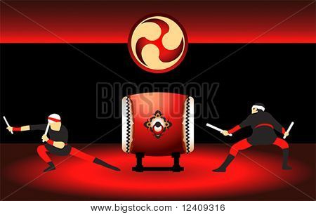 Two japanese taiko drummers at the bright red scene