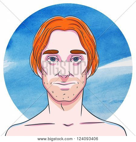 Man with long ginger hair on a background of watercolor circles. The illustration in comics style.