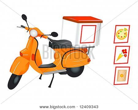 Delivery scooter for pizza, flowers and parcel in editable vector