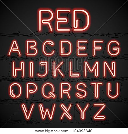 Red neon light alphabet with cable. Vector.
