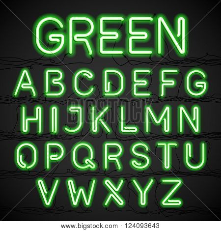 Green neon light alphabet with cable. Vector.