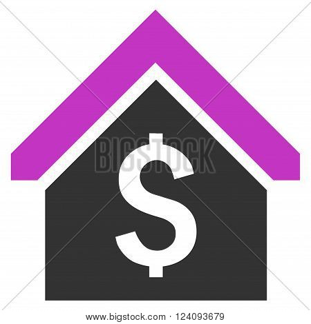 Loan Mortgage vector icon. Style is flat symbol, violet color, white background.