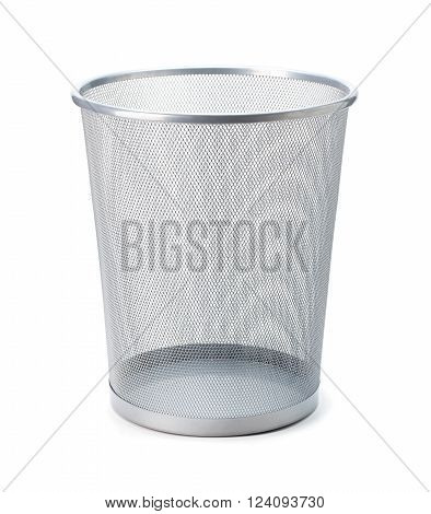 Empty trash clean garbage bin metal basket bin for waste paper in office Empty rubbish for wastepaper or junk