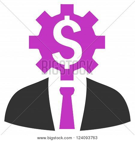 Office Worker vector icon. Style is flat symbol, violet color, white background.
