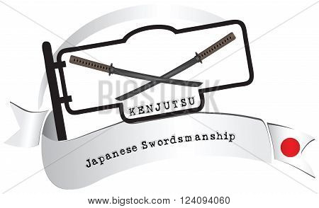 Banner traditional school Kenjutsu. Kenjutsu - traditional Japanese swordsmanship school.