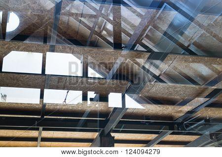 Reflection of glazed atrium roof, stock photo