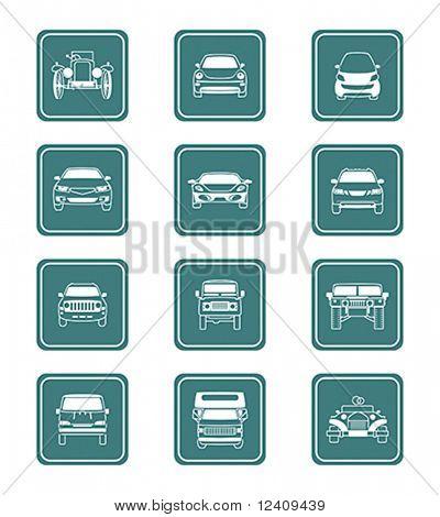 Carros modernos e antigos ícone vista frontal coleção em vetor.