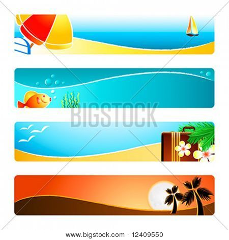 Beach time banner or header 4-color backgrounds set.