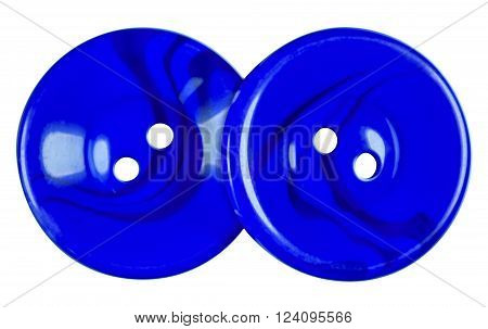 Blue Plastic buttons isolated on white background