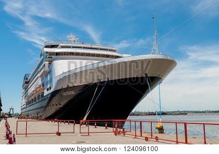 Montevideo, Uruguay - December 15, 2012: The Holland America Line cruise ship Veendam moored at Montevideo port - Uruguay South America - Rio de la Plata.