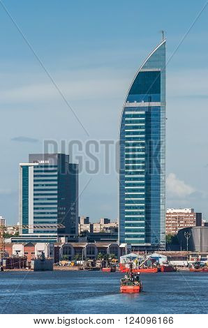 Montevideo, Uruguay - December 15, 2012: Telecommunications Tower or Antel Tower is a 157 meter tall building in Montevideo, Uruguay.