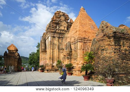 NHA TRANG, VIETNAM - DECEMBER 30, 2015: In the ancient temple complex of Po Nagar in Nha Trang. The historic landmark of the city of Nha Trang, Vietnam