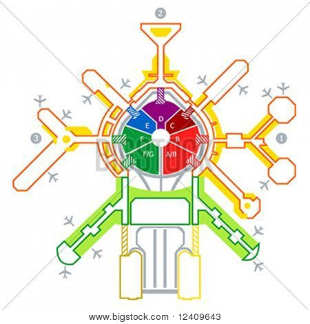 Colorful technical illustration of abstract airport scheme