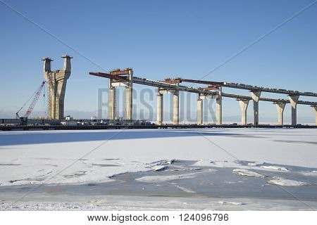 A view of the construction of the Central section of Western high speed diameter in the Gulf of Finland winter day. Saint-Petersburg, Russia