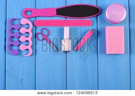 Cosmetics and accessories for manicure or pedicure copy space for text or inscription concept of nail hand and foot care
