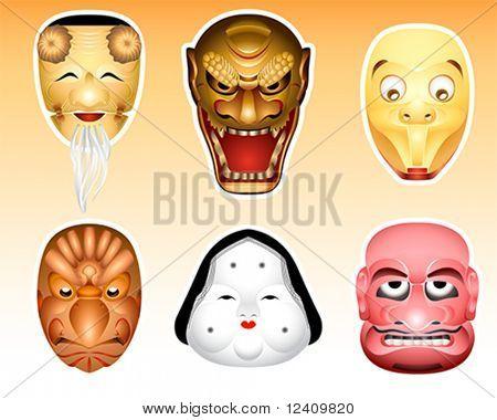 Traditional japanese theater masks - okina, kazuchi, shityome, korobase, otafuku, buaku.