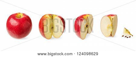 Fresh whole apple cut in a halfthree-quarter quarter up to zero isolated on white background. Concept of the decreasing reduction or subsidence and stages of a process