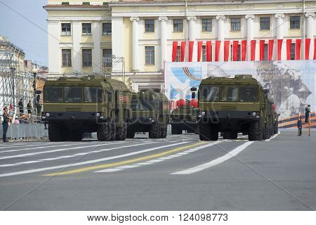 ST. PETERSBURG, RUSSIA - MAY 05, 2015: Column launcher MZKT-7930 missile complex