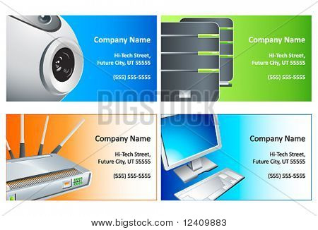 High-technology computer company business cards set