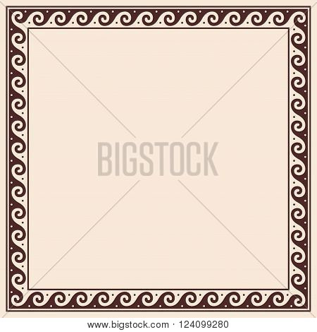 Greek style frame ornament. Brown pattern on a beige background.