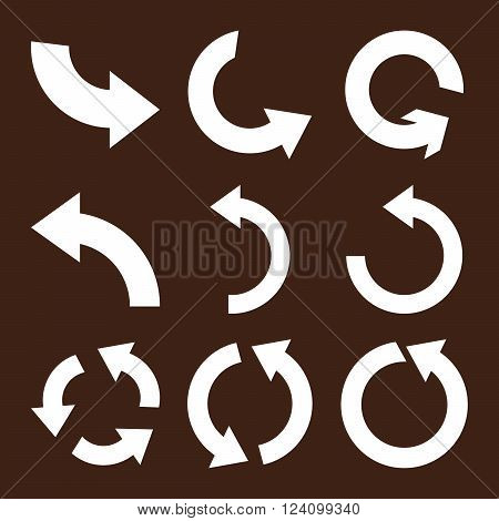 Rotate Counterclockwise vector icon set. Collection style is white flat symbols on a brown background. Rotate Counterclockwise icons.