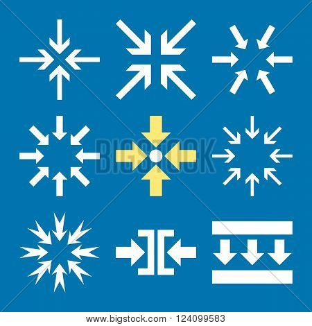 Minimize Arrows vector icon set. Collection style is bicolor yellow and white flat symbols on a blue background. Minimize Arrows icons.
