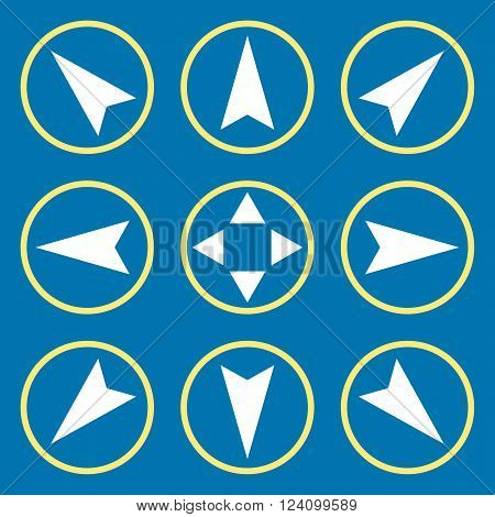 Navigation Directions vector icon set. Collection style is bicolor yellow and white flat symbols on a blue background. Navigation Directions icons.