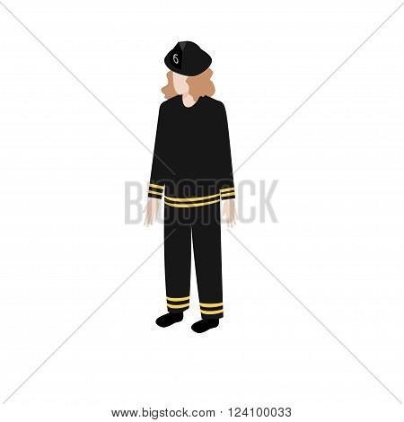 Isometric young woman fireman standing full face for info graphics