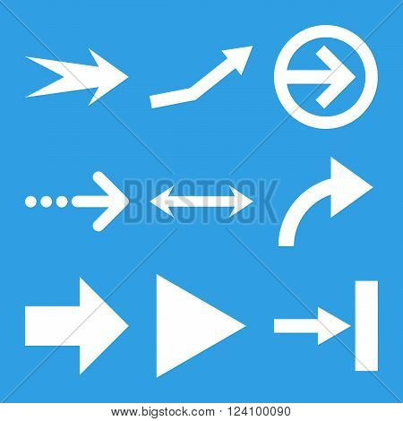 Direction Arrows vector icon set. Collection style is white flat symbols on a blue background. Direction Arrows icons.