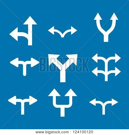 Divide Arrows vector icon set. Collection style is white flat symbols on a blue background. Divide Arrows icons.