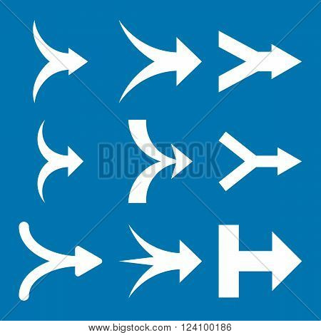 Join Arrows Right vector icon set. Collection style is white flat symbols on a blue background. Join Arrows Right icons.