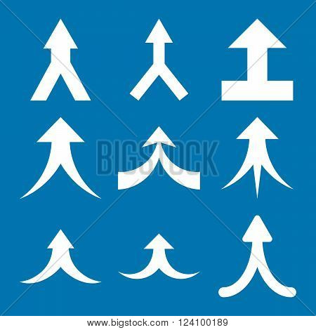 Join Arrows Up vector icon set. Collection style is white flat symbols on a blue background. Join Arrows Up icons.