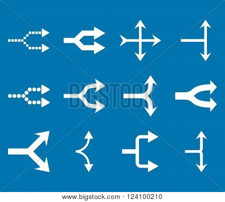 Junction Arrows Right vector icon set. Collection style is white flat symbols on a blue background. Junction Arrows Right icons.