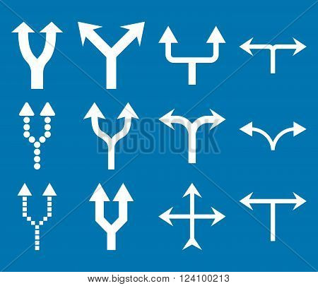 Junction Arrows Up vector icon set. Collection style is white flat symbols on a blue background. Junction Arrows Up icons.