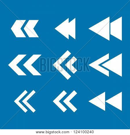 Left Direction vector icon set. Collection style is white flat symbols on a blue background. Left Direction icons.