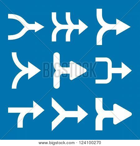 Merge Arrows Right vector icon set. Collection style is white flat symbols on a blue background. Merge Arrows Right icons.