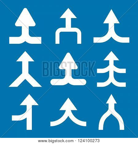 Merge Arrows Up vector icon set. Collection style is white flat symbols on a blue background. Merge Arrows Up icons.