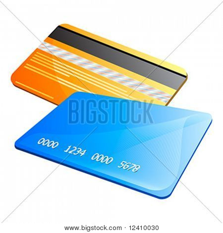 Front and back of abstract colorful credit cards