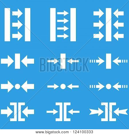 Pressure Horizontal vector icon set. Collection style is white flat symbols on a blue background. Pressure Horizontal icons.