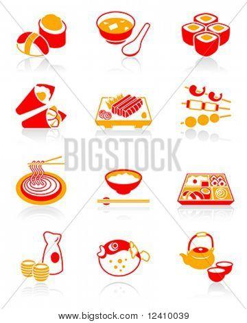 Japanese sushi-bar or restaurant icons