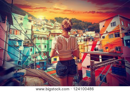 Brazilian Woman Standing In The Favela