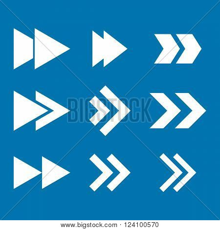Right Direction vector icon set. Collection style is white flat symbols on a blue background. Right Direction icons.