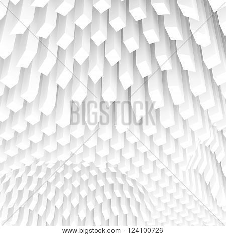 Curved Surface Formed By White Columns Array, 3D