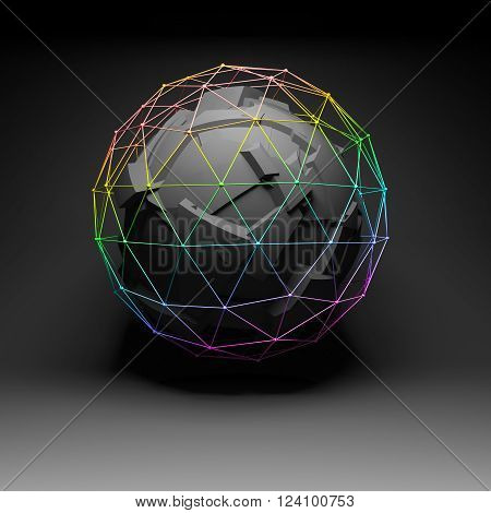 Abstract Fragmented Polygonal Spherical 3D Object