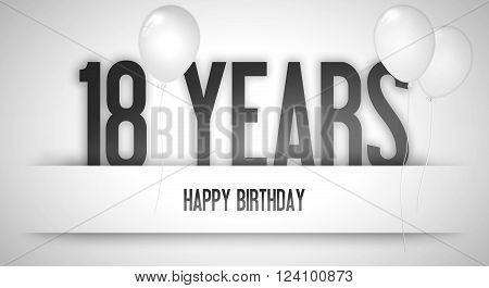 Happy Birthday Card Sign - Balloons - Banner - Anniversary - 18 Years Greetings - Illustration