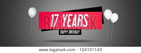 Happy Birthday Card Sign - Balloons - Banner - Anniversary - 17 Years Greetings - Illustration
